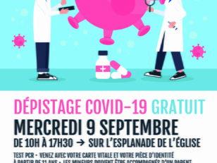 [COVID-19] Mercredi 9 septembre - Dépistage gratuit de 10h à 17h30 sur l'esplanade de l'église 1