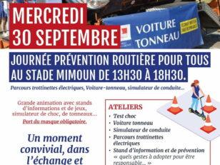 Voiture-tonneau, simulateur de conduite, parcours trottinettes électriques... Journée prévention routière au stade Mimoun 2