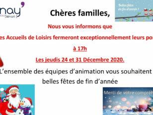 Fermeture exceptionnelle à 17h des accueils de loisirs les 24 et 31 décembre 1