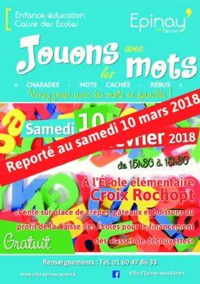"""""""Jouons avec les mots"""" : reporté au 10 mars 2018 1"""