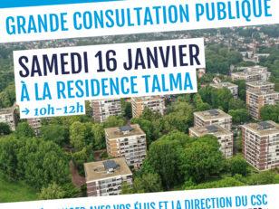 Consultation publique ce samedi 16 janvier de 10h à 12h à Talma 3