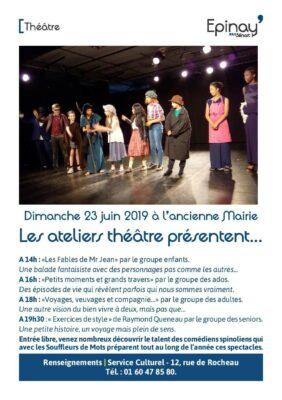 Spectacles des ateliers théâtre dimanche 23 juin dès 14h 1