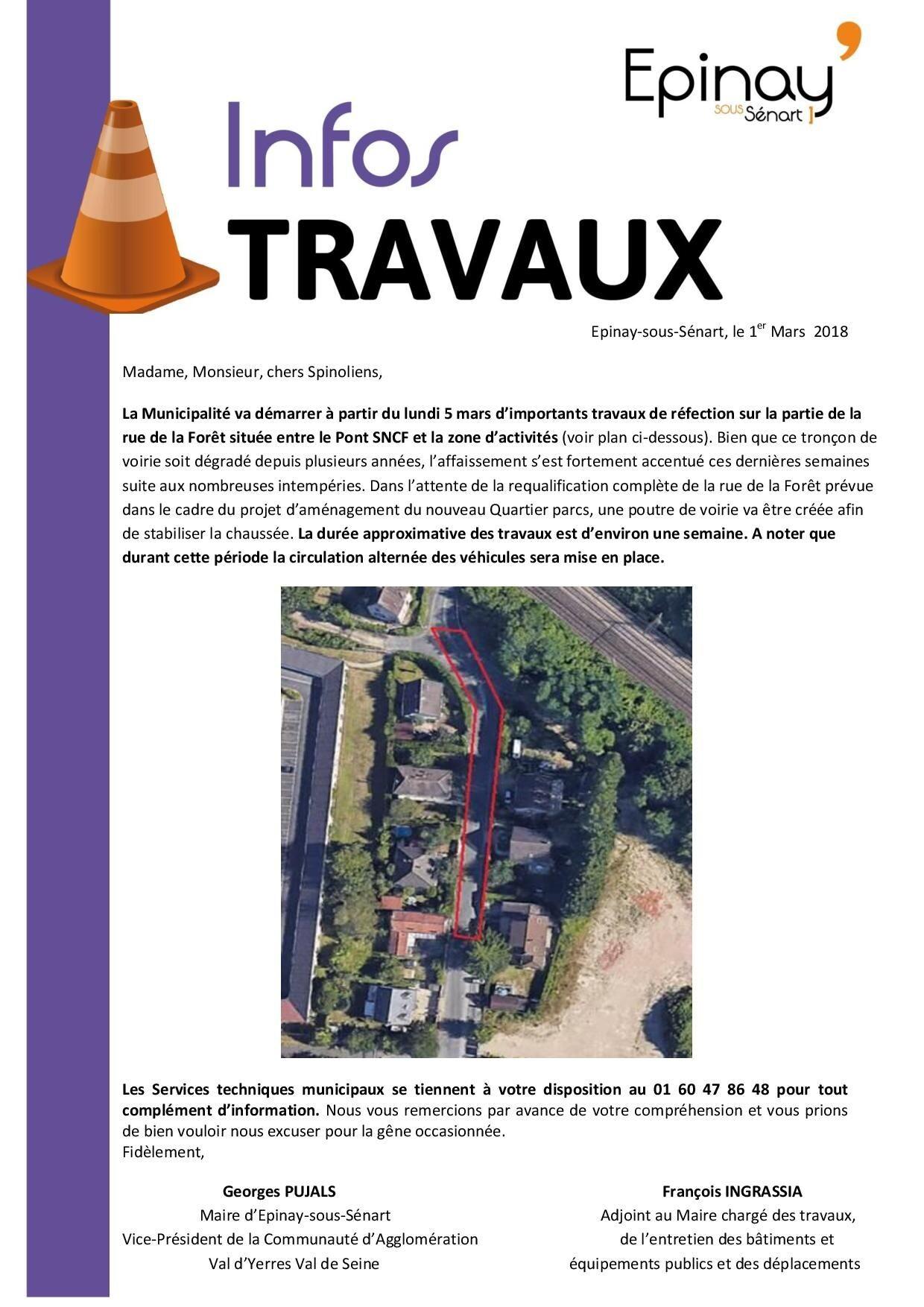 Infos travaux relais ouest et rue de la for t epinay for Garage de la foret epinay