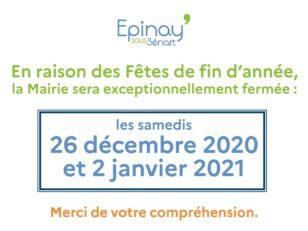 Fêtes de fin d'année : la Mairie sera fermée ce samedi 2 janvier 2021 6