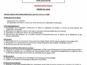 Conseil Municipal le 7 octobre 2020 à 20h - Séance à huis clos 147