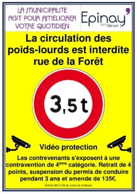 Rappel : La circulation des poids-lourds est interdite rue de la Forêt 1