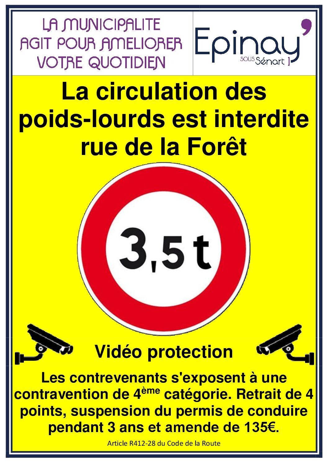 Assez Rappel : La circulation des poids-lourds est interdite rue de la  TJ26
