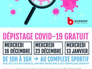 Tests PCR gratuits les 23/12 et 13/01 au complexe sportif 106