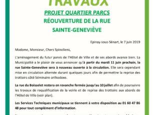 Infos travaux Mai 2019 : réouverture de la rue Ste-Geneviève ce mardi 11 juin 12