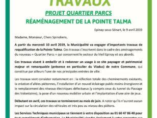 """Projet """"Quartier Parcs"""" : Réaménagement de la Pointe Talma 7"""