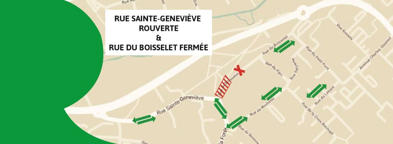 Infos Travaux – Réouverture de la rue Ste-Geneviève