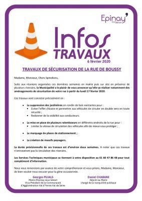 Info Travaux : rue de Boussy à partir du 17/02/2020 1