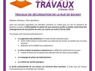 Info Travaux : rue de Boussy 1